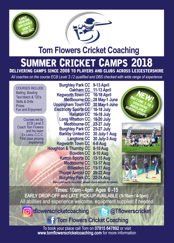 Summer Cricket Camp Flyer for Leicestershire & Rutland Cricketers